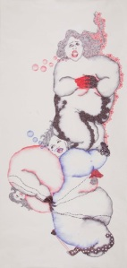 Sugar syrup is a good adhesive, 2011, Cello Gripper on Chinese paper, 141.5 x 68 cm