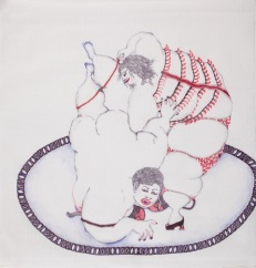 VIDHA SAUMYA, Whipped Cream, 2010, Cello Gripper on Chinese paper