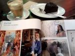 ART magazine with my latte and chocolatecake